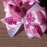 Бело-розовый бантик с бабочками