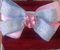 Бантик-резинка для волос розово-голубой с серебром