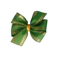 Зелёный бантик с золотым арнаментом