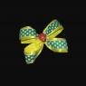 Жёлто-зелёный бантик с божьей коровкой