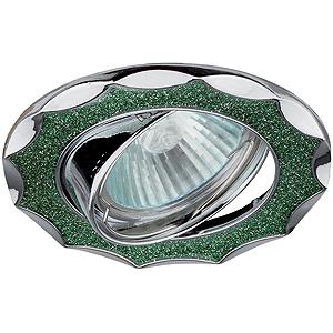 """DK17 CH/SH GR Светильник ЭРА декор """"звезда  со стеклянной крошкой"""" MR16,12V, 50W, хром/зеленый(декоративный)"""