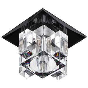 """DK2 BK/WH Светильник ЭРА декор """"хрустальнй куб с вертик столб."""" G9,220V, черный/прозрачный(декоративный)"""