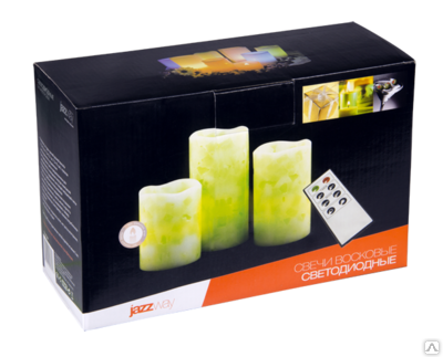 Свечи светодиодные восковые  LED JAZZway CL1-SET3Gn (компл. 3шт, зеленый св.)
