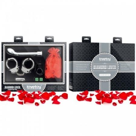 Подарочный набор: вибромассажёр, виброкольцо, вибропуля, наручники, лепестки роз, светящиеся игровые кубики