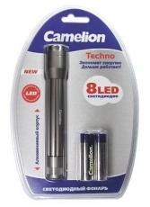 Фонарь Camelion LED5104-8 (фонарь, матов металлик, 8 LED, 2XR6 в комплекте, алюм., блистер)