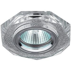 DK5 SH/SL Светильник ЭРА декор стекло многогранник MR16,12V, 50W, GU5,3 серебряный блеск(декоративный)