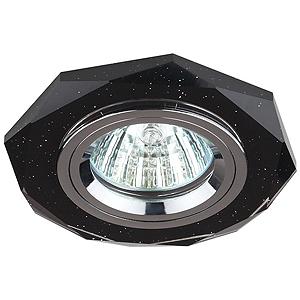 DK5 СH/BK  Светильник  ЭРА декор стекло многогранник MR16,12V/220V,  GU5,3 черн блеск/хром(декоративный)