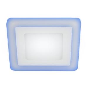 ЭРА Светильник светодиодный квадратный с синей подсветкой LED4-9 9W 540Lm 220V 4000K BLUE