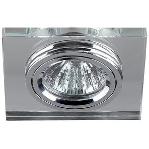 DK8 CH/WH Светильник ЭРА декор стекло квадрат MR16,12V, 50W, хром/зеркальный (50)(декоративный)