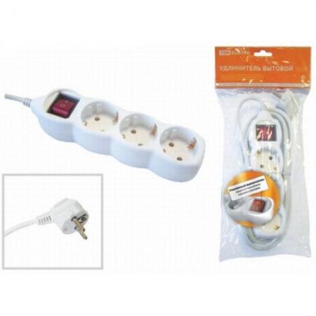 Удлинитель бытовой  У03В выключатель, 3 гнезда, 1,5метра, с заземлением, ПВС 3х1мм2  16А/250В TDM