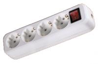 Колодка розеточная 4 гнезда 2П+3 с выключателем 16А 250В белая TDM/12