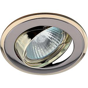 """KL22 А GU/G Светильник ЭРА литой пов. """"двойной контур"""" MR16,12V, 50W  черный металл/золото(литые)"""