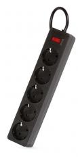 Сетевой фильтр SmartBuy One, 10А, 2 200 Вт, 5 розеток, длина 1,8 м, черный (SBSP-18-K)/45