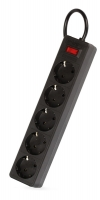 Сетевой фильтр SmartBuy One, 10А, 2 200 Вт, 5 розеток, длина 3,0 м, черный (SBSP-30-K)/45