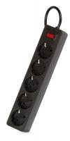 Сетевой фильтр SmartBuy One, 10А, 2 200 Вт, 5 розеток, длина 5,0 м, черный (SBSP-50-K)/35