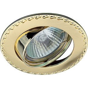 """KL23 А SG/G Светильник ЭРА литой пов. """"контур с рисунком"""" MR16,12V, сатин золото/золото (100/14)(литые)"""