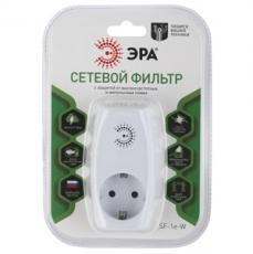Сетевой фильтр ЭРА SF-1e-W (белый) с зазем.со шт, 1гн,