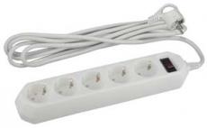 Сетевой фильтр ЭРА USF-5es-3m-W (белый) с зазем., 3*0.75мм2, с выкл, 5гн,3м,