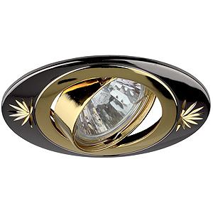 KL4A GU/G Светильник ЭРА литой овал пов. с гравировкой MR16,12V, 50W черный металл/золото (5/100/210),(литые)