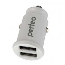 "PERFEO Автомобильное зарядное устройство с двумя разъемами USB, 2x2.4А, белый, ""CAR"" (PF_A4459) /125"