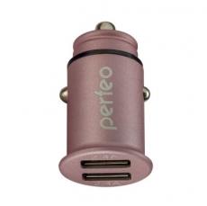"PERFEO Автомобильное зарядное устройство с двумя разъемами USB, 2x2.4А, розовый, ""AUTO 2"" /50"