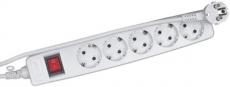 Сетевой фильтр ЭРА SF-5es-4m-W (белый) с зазем., 3*1мм2, со шт, с выкл, 5гн, 4м, кор 20/360