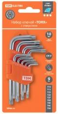 """Набор ключей """"TORX"""" с отверстием 9 шт: Т10-Т50"""